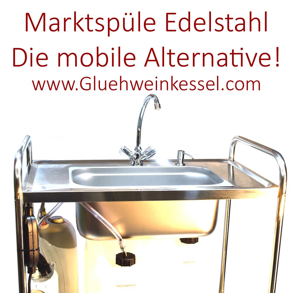 mobile Spüle aus Edelstahl